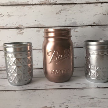 Deco Glam Wedding - Rose Gold Mason Jar - Rustic Office Decor - Rustic Home Decor - Office Organization - Rose Gold and Silver Vase