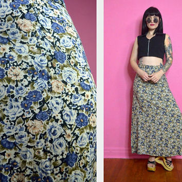 vintage 90s floral maxi skirt high waisted boho hippie soft grunge Small