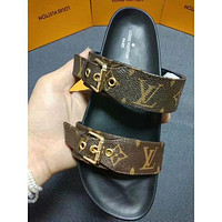 LV Louis Vuitton tide brand female outdoor personality wild open toe sandals Black