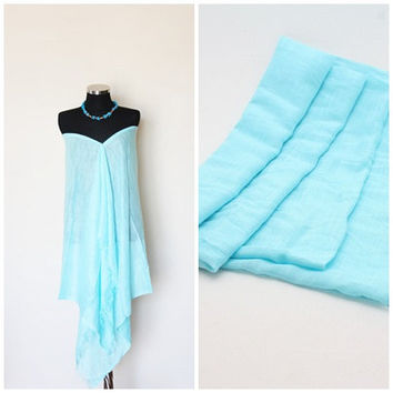 Aqua, Mint cotton Beach Dress - Pareo - big shawl - OOAK