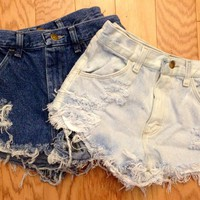 Plain Distressed High Waisted Shorts