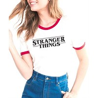 STRANGER THINGS Ringer Tee hipster shirts Tumblr Graphic t-shirt Women men Letter Print t shirt fashion cotton clothing Top