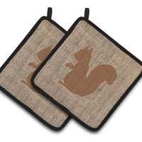 Squirrel Faux Burlap and Brown   Pair of Pot Holders BB1119-BL-BN-PTHD