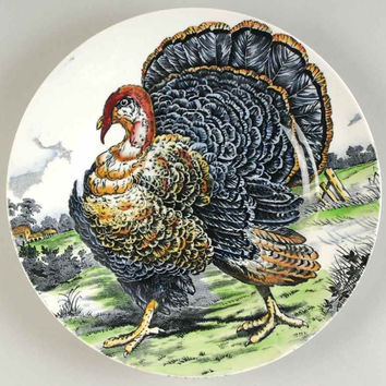 Vintage / Antique  Black Transferware Turkey Plate English China Staffordshire Dinner Plate Thanksgiving Decor Midwinter Wild Turkey