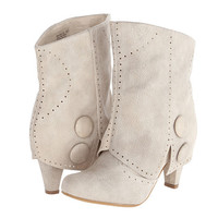 Bella Button Shortie Boots (Cream)