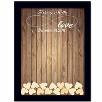 Rustic Wedding Guest Book with 120pcs Small Hearts Wedding Decoration
