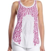 Lucky Brand Embroidered Floral Tank White & Purple