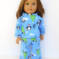 18 Inch Doll Penguin Pajamas, Blue Pajamas with Penguins, Doll Pyjamas, Christmas Pajamas, Winter Doll Clothes, fits American Girl Dolls