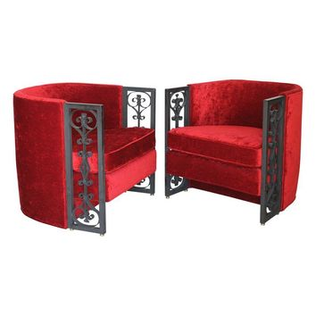 Pre-owned Wrought Iron and Red Velvet Club Chairs - Pair