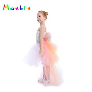Pastel Rainbow Girls Unicorn Bustle Tutu Dress Summer Dresses For Girls Baby Kids Party Dresses Children Cosplay Costume