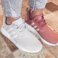 Women Adidas Fashion Trending Beige And Gray Leisure Running Sports Shoes Beige-5