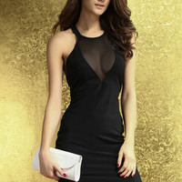 Black Mesh Halter Neckline Dress with Bare Back Design