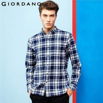 Giordano Men Shirt Casual Flannel 2017 Men's Shirt Long Sleeves Pocket Tops For Men Button-down Collar Camisa Masculina Clothing