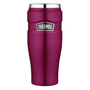 Thermos Stainless King Vacuum Insulated Travel Tumbler - 16 oz. - Stainless Steel-Raspberry [SK1005RSTRI4]