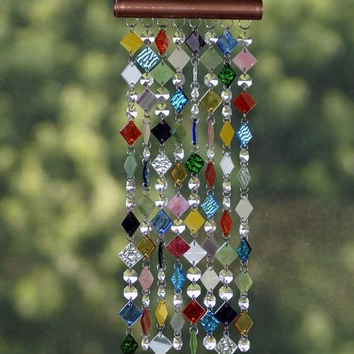 Stained Glass - Colored Glass - Wind Chimes - Sun Catcher - OOAK - Cuivre petit bijou