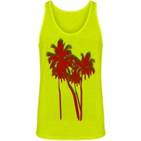 Neon Palm Trees: Custom Unisex Canvas Jersey Neon Tank Top - Customized Girl
