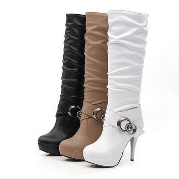 3 Colors New Fashion black style PU Knee heels Thin heels Buckle Rhinestone Platorms heels boots ON sale = 1931712324