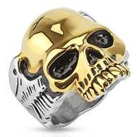 Guardian - FINAL SALE Two tone gold IP and silver stainless steel half skull with wings men's ring