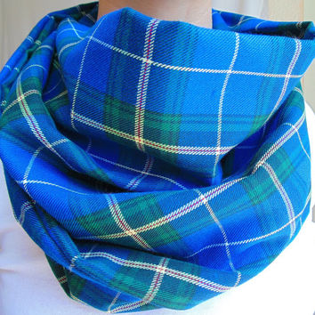 Blue Plaid Infinity Scarf, Nova Scotia Tartan Scarf, Back To School, Womens Scarf, Oversized Scarf, Gift, Extra Long, Fall Winter Scarf