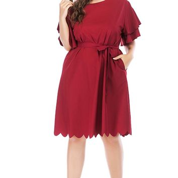 Solid Color Shift Dress With Scalloped Trims