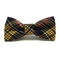 Dog Collar Bow Tie - Dog Bow Tie - Plaid Dog Bow Tie - Fall Dog Bow Tie - Yellow Plaid Dog - Yellow and Black Dog - Black Plaid Dog