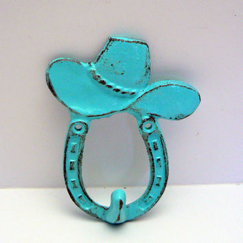 Horse Shoe Cowboy Cowgirl Hat Country Western Wall Hook Cast Iron Aqua Turquoise Horseshoe Shabby Chic Distressed Leash Key Jewelry Hook