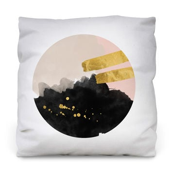 Black and Gold Outdoor Throw Pillow