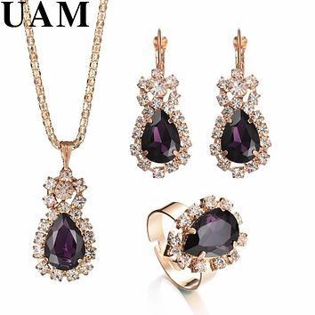 Fashion Wedding Gift Jewelry Gold Color Water Drop Shape Crystal Earrings Necklace Adjustable Rings Set Women Jewelry Sets