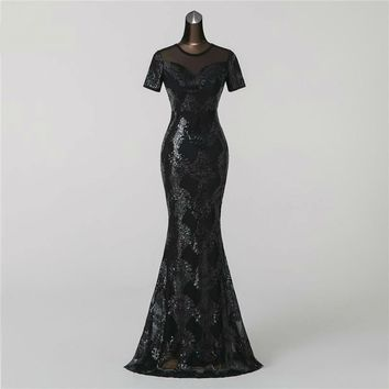 New Mermaid  Evening Dress prom gowns Formal Party dress Backless Luxury Sequin robe longue