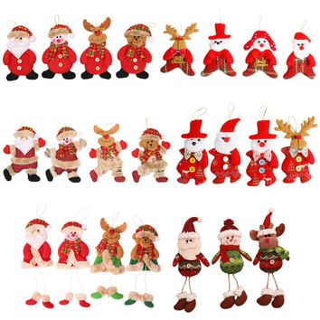 Merry christmas ornaments christmas Gift Santa Claus Snowman Tree Toy Doll Hang Decorations for home Enfeites De Natal fkk2