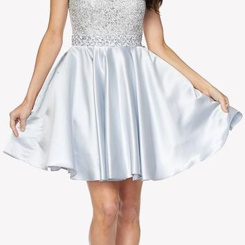 Silver Cold Shoulder Homecoming Dress Embellished Waist Lace Top