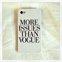 "White ""More Issues Than Vogue"" iPhone 5 5S Hipster Phone Case"