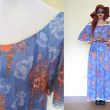 Vintage 70's sheer hippie boho bohemian floral flower off shoulder lace purple violet bell sleeves print mumu tent dress maxi