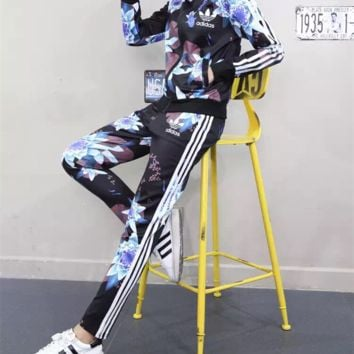 """Adidas"" Women Stripe Lotus Print Long Sleeve Zip Cardigan Trousers Set Two-Piece Sportswear"