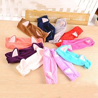 Korean Velvet Cat Ear Headband Women Soft Cotton Hair Bands Hair Accessories Wash Shower Cap Head Ornaments Elastic Hair Band