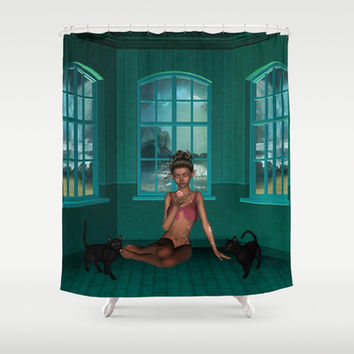 Black Rose Tattoo Butterfly Elf Shower Curtain by Apgme