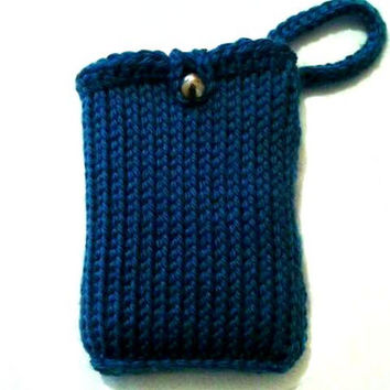 Teal Blue Ipod Classic Pouch with Strap, Razr Tunisian Crochet Apple Latte Ipod 4 touch Sleeve, Playing Cards Case