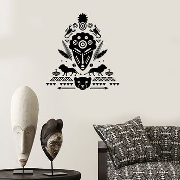 Wall Decal African Mask Symbol Scorpion Tribal Cool Mural Vinyl Decal Unique Gift (z3322)
