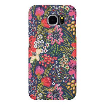 Vintage Bright Floral Pattern Fabric Samsung Galaxy S6 Cases