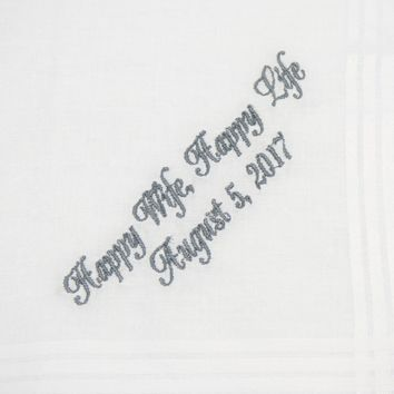 Happy Wife, Happy Life Groom Handkerchief