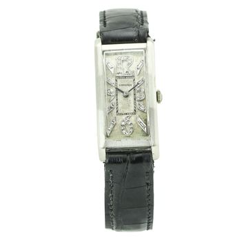 Vintage Longines Men's Mechanical Watch in Platinum with Diamond Dial