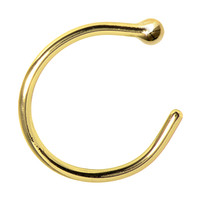 20 Gauge Solid 14KT Yellow Gold Nose Hoop - 5/16"