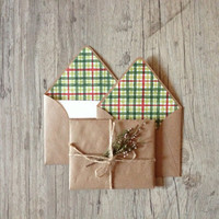 Crafted writing set - letter writing paper - christmas new year snowflake-recycled brown envelope - pastel light rustic - europeanstreetteam