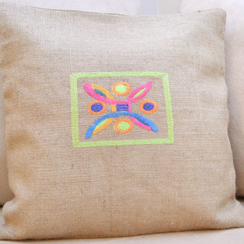 Abstract Burlap Pillow Cover - Just Because Gift - Housewarming Gift - Baby Shower Gift - Mother's Day Gift - Easter Gift