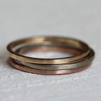 Solid gold stacking rings - 14k gold