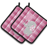 Elephant with Pink Balloon Pair of Pot Holders BB6948PTHD