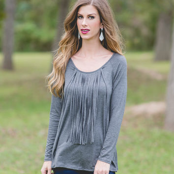 Same Old Love Fringe Top (Charcoal)