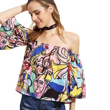SheIn Off The Shoulder Painting Print Crop Womens Tops Fashion Summer Multicolor Three Quarter Length Flare Sleeve Blouse