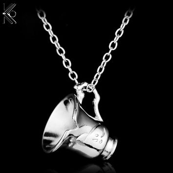 Once Upon A Time Bella Chipped Tea Cup Necklace Beauty and the Beast Steampunk Necklace,Collier Femme Kolye Movie Jewelry