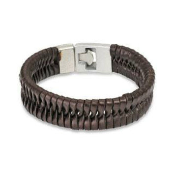 Brown Leather Fishtail - Leather Bracelet With T Bar Closure